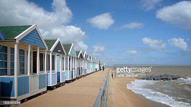 There are row upon row of these candy coloured beach huts at this genteel seaside resort in Suffolk.