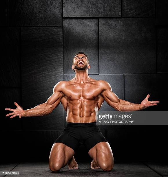 there can be only one - bodybuilding stockfoto's en -beelden