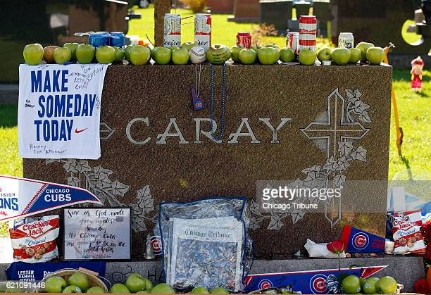 There have been plenty of visits to Harry Caray's graveside Thursday Nov 3 2016 at All Saints Cemetery in Des Plaines Ill since last nights Cubs...