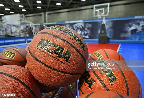 There is no shortage of Wilson NCAA basketballs at the NCAA Bracket Town at the Dallas Convention Center in Dallas Texas Thursday April 3 2014 The...