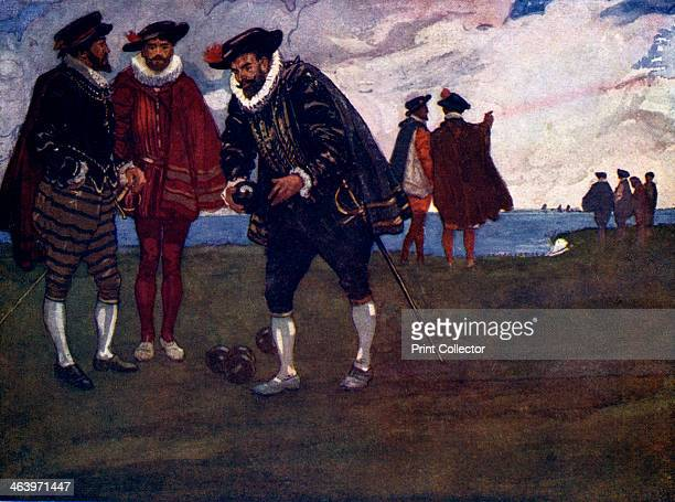 'There is time to finish the game and beat the Spaniards too said Drake' Francis Drake plays bowls before doing battle with the Spanish Armada...