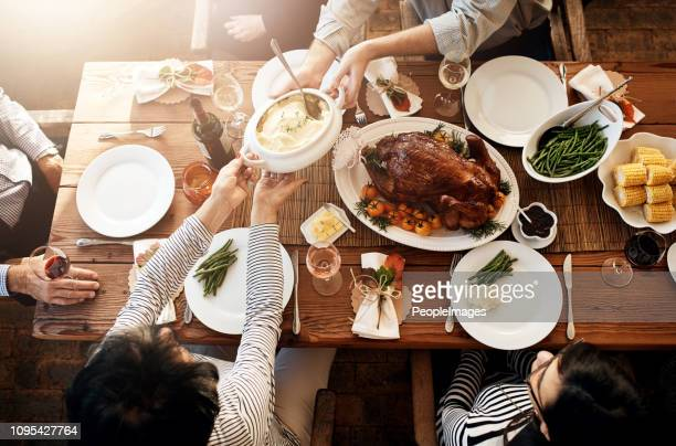 there won't be any leftovers at this table! - thanksgiving leftovers stock photos and pictures