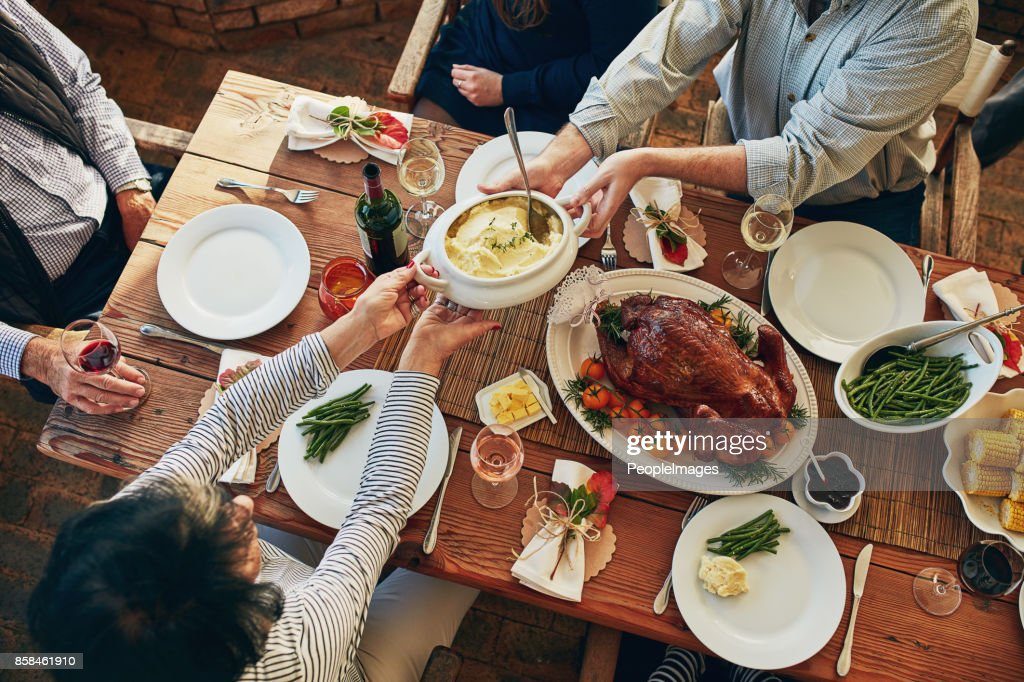 There won't be any leftovers at this table! : Stock Photo