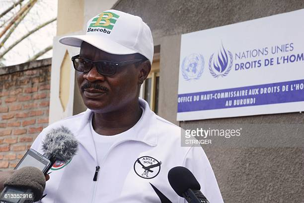 Therence Ntahiraja assistant of the minister of Home Affairs delivers a speech outside of the United Nations headquarters during a demonstration...