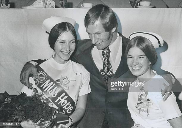 There's a lot of hope for shack Eddie Shack right winger for the Buffalo Sabres chats with Elizabeth Bruce Miss Hope 1972 and predecessor Nancy...