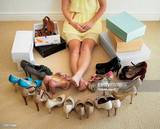 there's a perfect shoe for every outfit - shoe box stock pictures, royalty-free photos & images