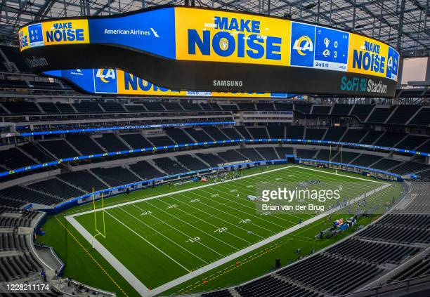 There's no fans to make noise as the Rams play a scrimmage for the first time at an empty SoFi Stadium Saturday, Aug. 22, 2020 in Inglewood, CA....