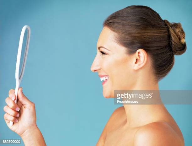 there's no one better than yourself - hand mirror stock photos and pictures