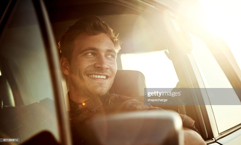 There's nothing quite like a roadtrip at sunset : Stock Photo