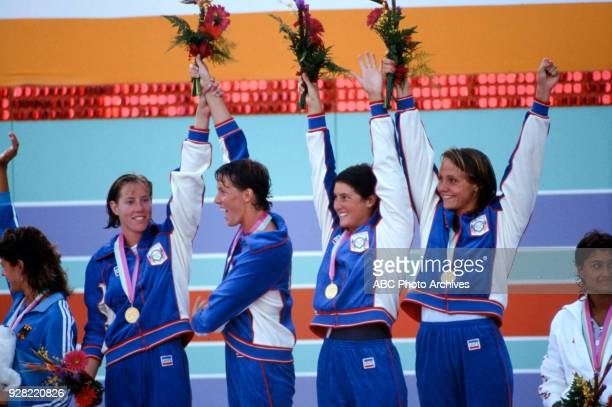 Theresa Andrews Tracy Caulkins Mary T Meagher Nancy Hogshead Women's swimming 4 × 100 metre medley relay medal ceremony McDonald's Olympic Swim...