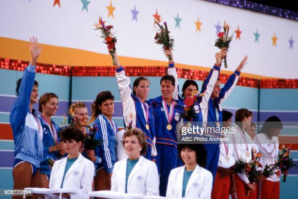 Theresa Andrews Tracy Caulkins Mary T Meagher Nancy Hogshead Women's swimming 4 × 100 metre medley relay medal ceremony West German team US team...