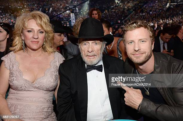 Theresa Ann Lane recording artist Merle Haggard and recording artist Dierks Bentley attend the 49th Annual Academy of Country Music Awards at the MGM...