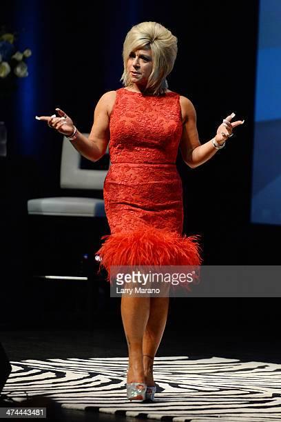 Theresa Caputo performs portraying herself as Long Island Medium at Fillmore Miami Beach on February 22 2014 in Miami Beach Florida