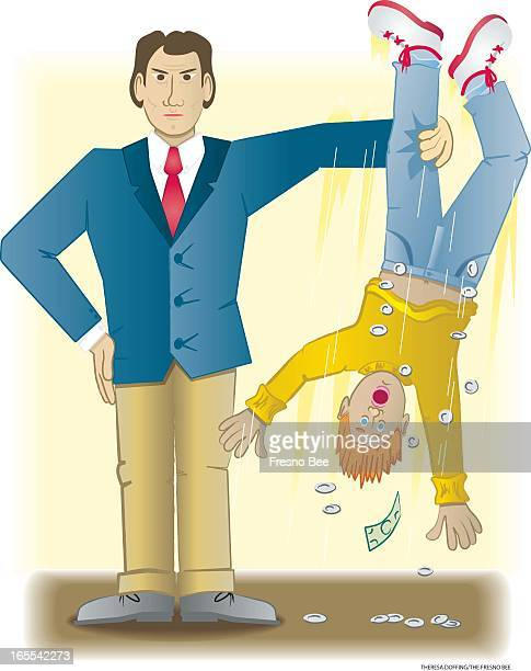 Theresa Doffing color illustration of bill collector holding debtor upsidedown by the leg to shake out his pocket change