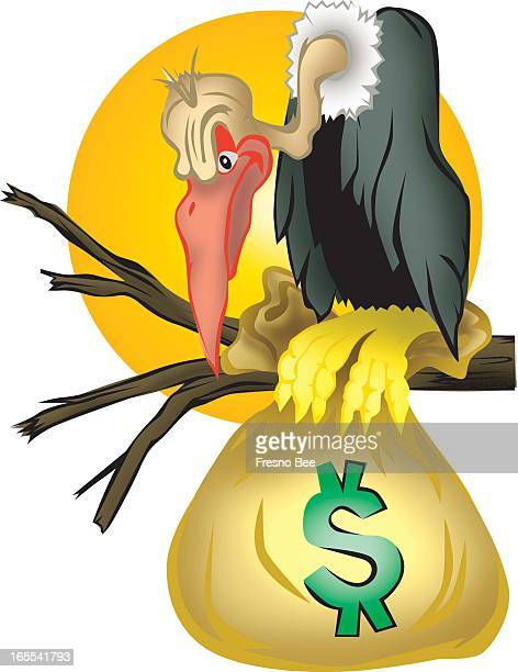 Theresa Doffing color illustration of desert vulture on dead tree limb clutching a bag of money