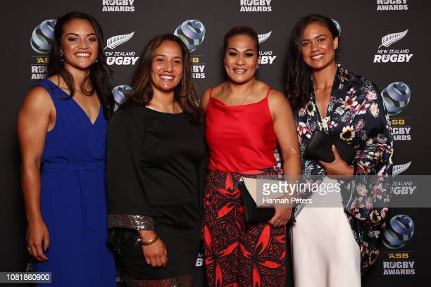 Theresa Fitzpatrick, Karina Stowers, Fiao'o Faamausili and Ruby Tui pose on the red carpet during the 2018 ASB Rugby Awards at SkyCity Convention...