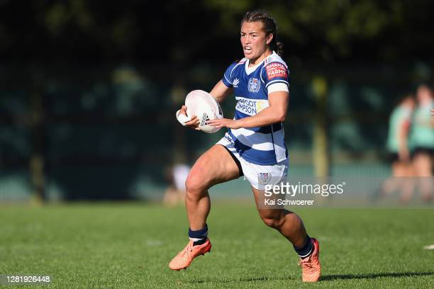 Theresa Fitzpatrick of Auckland charges forward during the Farah Palmer Cup Semi Final match between Canterbury and Auckland at Rugby Park on October...