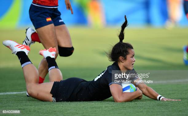 Theresa Fitzpatrick of New Zealand dives over for a try during the Women's Rugby Sevens Pool B match between New Zealand and Spain on Day 1 of the...