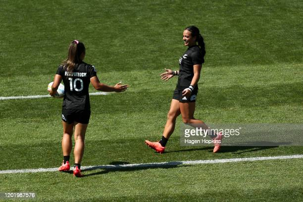 Theresa Fitzpatrick of New Zealand with Stacey Fluhler celebrates after scoring a try during the semi-final match between New Zealand and France at...