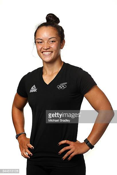 Theresa Fitzpatrick poses during the New Zealand Olympic team's Rio 2016 Olympic Games portrait session at QBE Stadium on February 12, 2016 in...