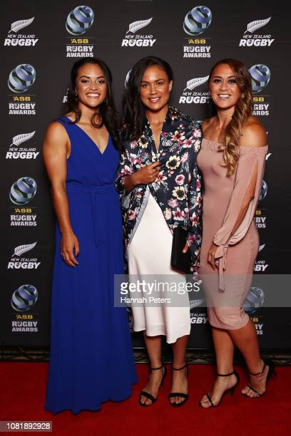 Theresa Fitzpatrick, Ruby Tui and Niall Williams pose on the red carpet during the 2018 ASB Rugby Awards at SkyCity Convention Centre on December 13,...