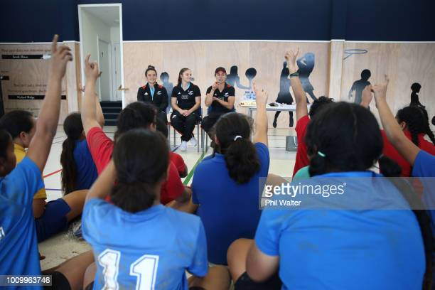 Theresa FitzpatrickMichaela Blyde and Ruby Tui of the Black Ferns leads school children in some basic rugby skills and fitness training during the...
