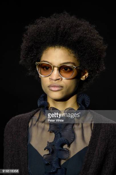Theresa Hayes walks the runway at Bottega Veneta Fashion Show during New York Fashion Week at The New York Stock Exchange on February 9 2018 in New...
