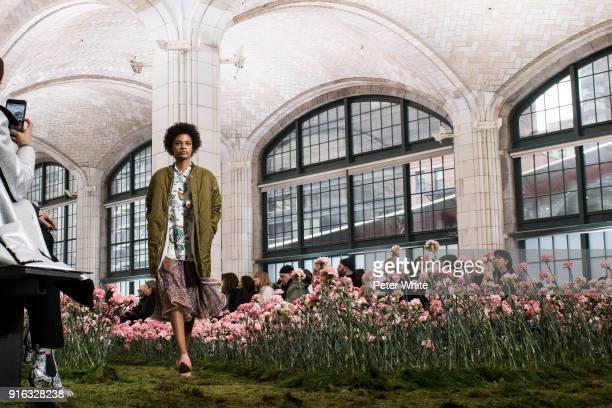 Theresa Hayes walks the runway at the Tory Burch Fall Winter 2018 Fashion Show during New York Fashion Week at Bridge Market on February 9 2018 in...