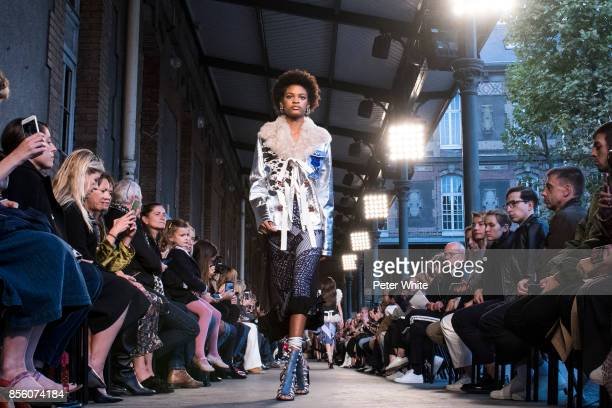 Theresa Hayes walks the runway during the Altuzarra show as part of the Paris Fashion Week Womenswear Spring/Summer 2018 on September 30 2017 in...