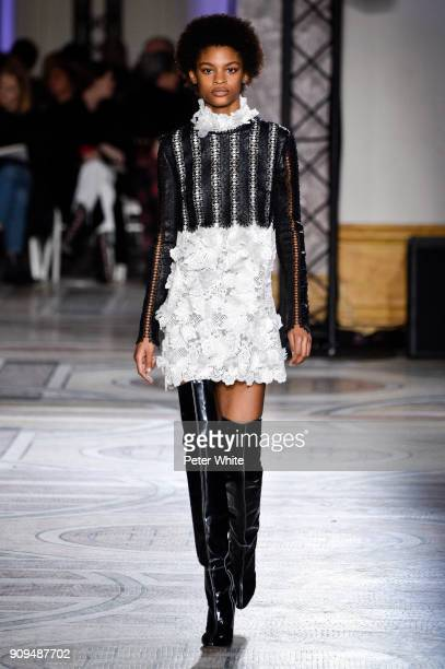 Theresa Hayes walks the runway during the Giambattista Valli Spring Summer 2018 show as part of Paris Fashion Week on January 22 2018 in Paris France