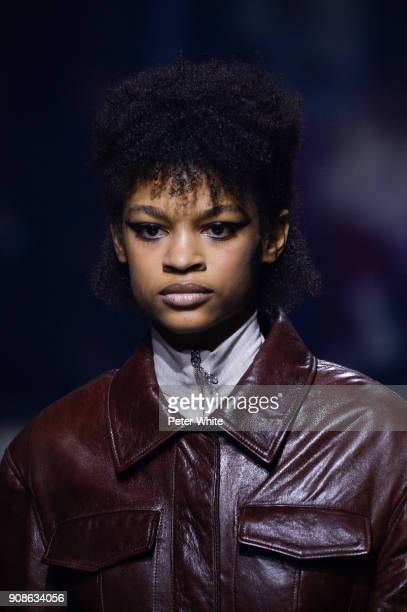 Theresa Hayes walks the runway during the Kenzo Menswear Fall/Winter 20182019 show as part of Paris Fashion Week on January 21 2018 in Paris France