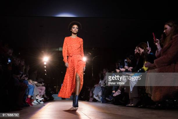 Theresa Hayes walks the runway for Carolina Herrera during New York Fashion Week at The Museum of Modern Art on February 12 2018 in New York City