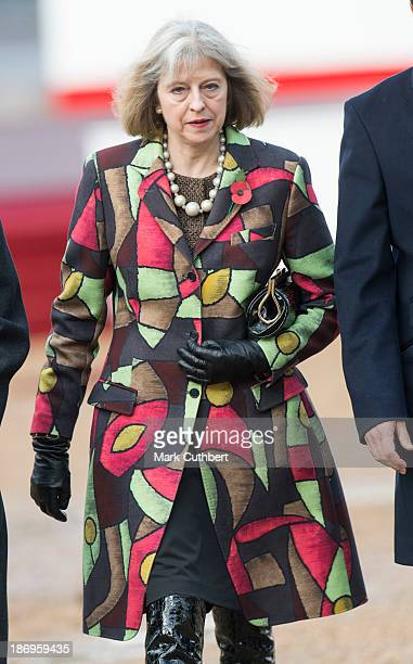 Theresa May attends the Ceremonial Welcome on Horse Guards Parade for The President of the Republic of Korea Her Excellency Park Geunhye on November...