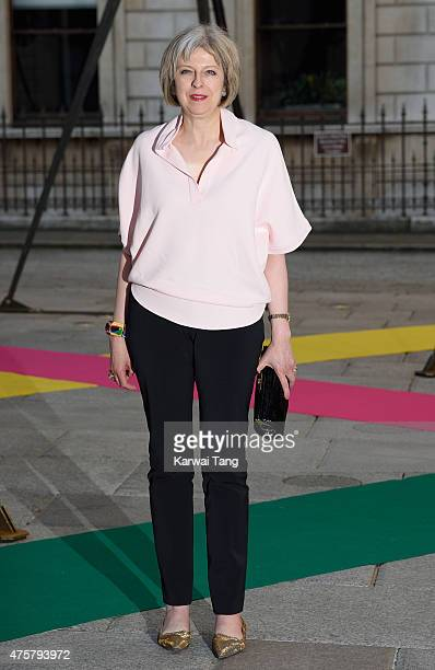 Theresa May attends the Royal Academy of Arts Summer Exhibition at the Royal Academy on June 3 2015 in London England
