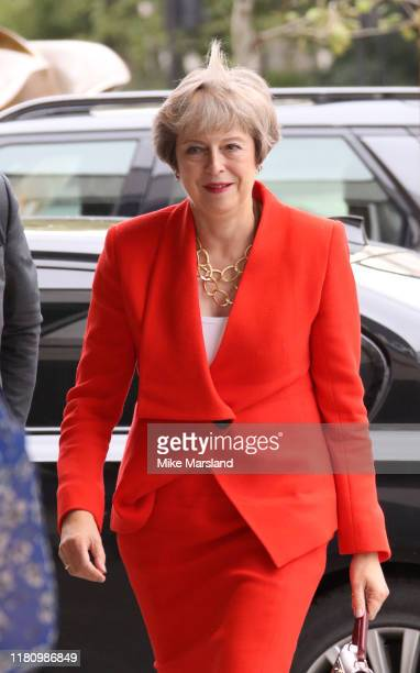 Theresa May attends the Woman Of The Year Awards Lunch at Royal Lancaster Hotel on October 14, 2019 in London, England.