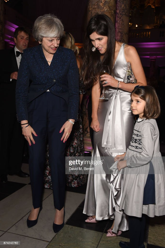 Theresa May, Clemmie Raynsford, and Isabella Raynsford attend The Sugarplum Dinner 2017 in aid of type 1 diabetes charity JDRF at The V&A on November 14, 2017 in London, England.