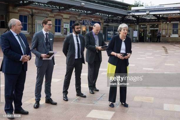 Theresa May, Conservative MP for Maidenhead, speaks on the occasion of the official opening of a new station forecourt on 11th October 2021 in...