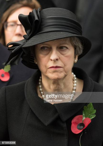 Theresa May during the annual Remembrance Sunday Service at The Cenotaph on November 12 2017 in London England