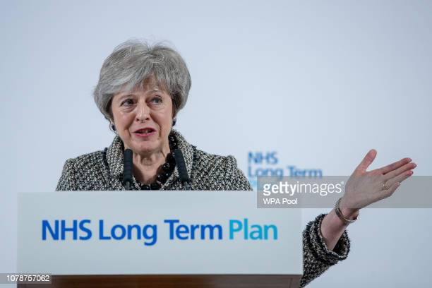 Theresa May gives a speech at 'Institute in the Park' at Alder Hey Children's NHS Foundation Trust on January 7 2019 in Liverpool England The Prime...