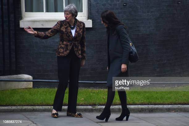 Theresa May greets Prime Minister of New Zealand Jacinda Ardern outside Number 10 Downing Street on January 21 2019 in London England