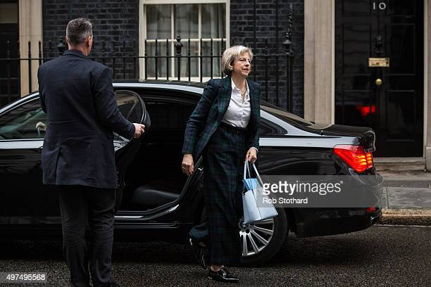 Theresa May Home Secretary arrives at Downing Street for the government's weekly cabinet meeting on November 17 2015 in London England Prime Minister...