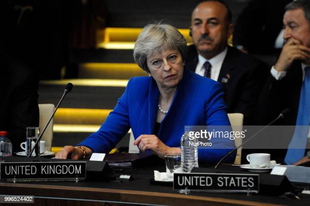 Theresa May is seen during the 2018 NATO Summit in Brussels Belgium on July 11 2018