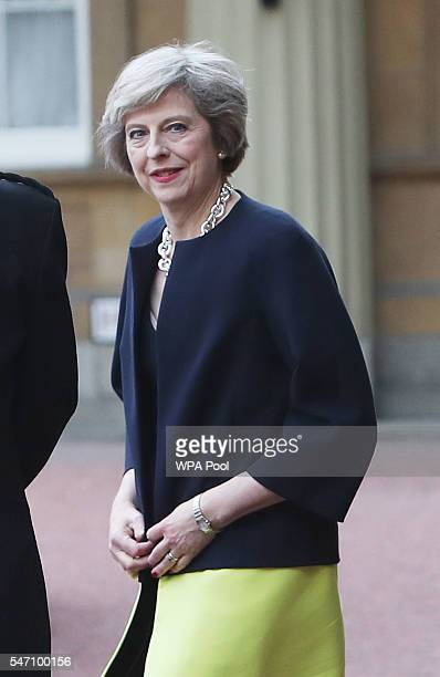 Theresa May leaves Buckingham Palace after an audience with Queen Elizabeth II where the former Home Secretary was invited to become Prime Minister...
