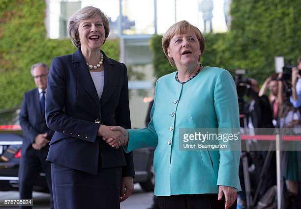 Theresa May Prime Minister of the United Kingdom arrives for a meeting with German Chancellor Angela Merkel on July 20 2016 in Berlin