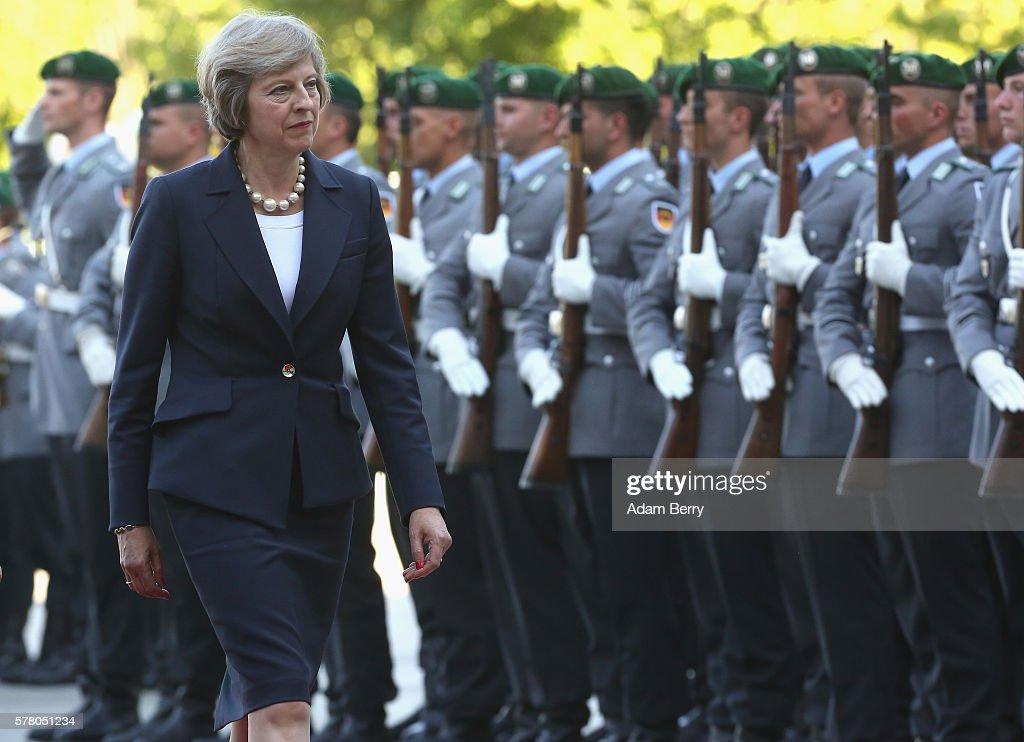 Theresa May Meets Angela Merkel In Berlin : News Photo