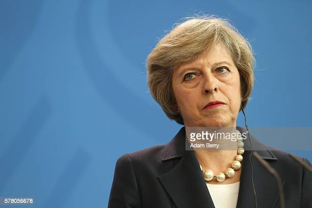 Theresa May prime minister of the United Kingdom speaks during a press conference with German Chancellor Angela Merkel on July 20 2016 in Berlin...