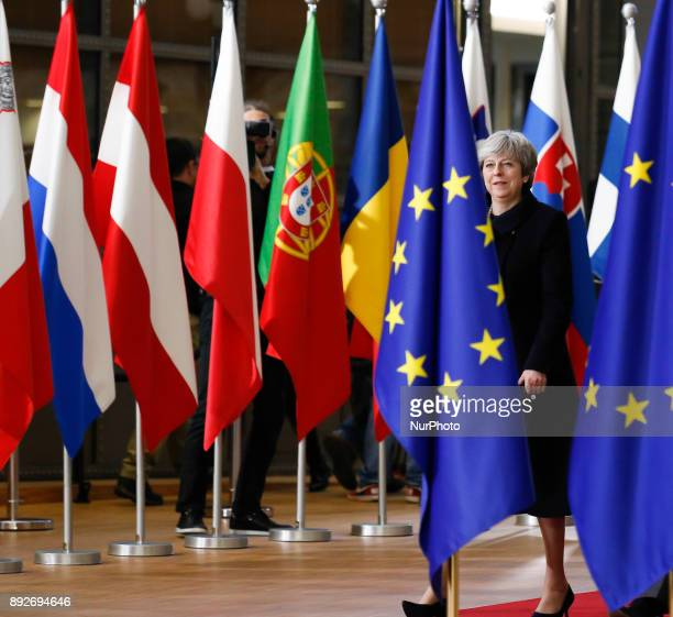 Theresa May Prime Minister of United Kingdom is arriving to the Europa building in Brussels Belgium for European Council summit on December 14 2017
