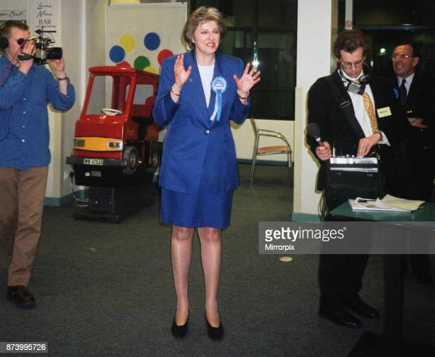 Theresa May seen here at general election count shortly after being elected as MP for Maidenhead 3rd May 1997