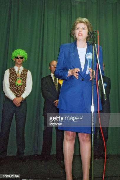 Theresa May seen here making her victory speech after being elected as the MP for Maidenhead, 3rd May 1997.