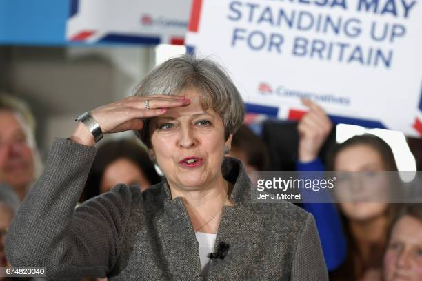 Theresa May speaks at an election campaign rally on April 29, 2017 in Banchory, Scotland. The Prime Minister is campaigning in Scotland with the...